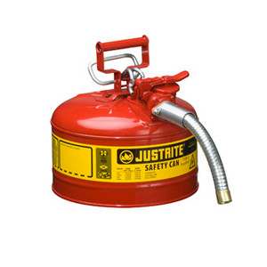 "Justrite® Type II Steel Safety Can, 2.5 gallon AccuFlow, 1"" Spout"