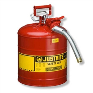 "Justrite® Type II Steel Safety Can, AccuFlow, 5 gallon, 1"" Spout"