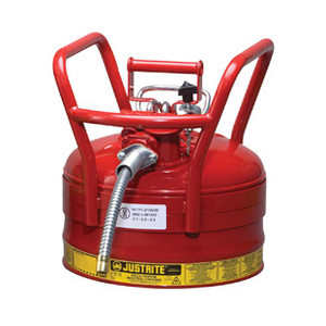 "Justrite® Type II D.O.T. Steel Safety Can, AccuFlow, 2.5 gallon, 5/8"" Spout, Roll Bars, Red"
