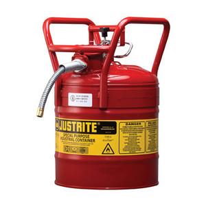 "Justrite® Type II D.O.T. Steel Safety Can, AccuFlow, 5 gallon, 5/8"" Spout, Roll Bars, Red"