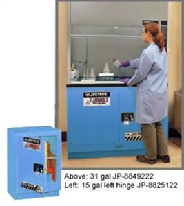 "Justrite® Acid Fume Hood Cabinet, ChemCor Lined 15 gal 24"" Blue LH, Self-Closing"
