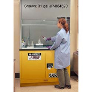 """Justrite® Flammable Safety Cabinet for Under Fume Hood 30"""" self-closing yellow"""