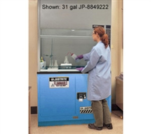 "Justrite® Acid Fume Hood Cabinet, ChemCor Lined 19 gal 30"" Blue manual"
