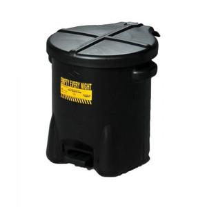 14 Gallon Plastic Oily Waste Can, Hands-Free, Self Close, Black