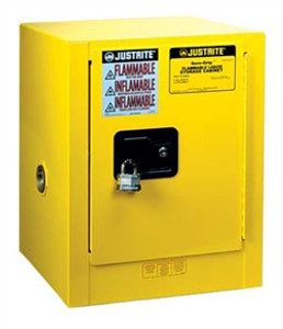 Justrite® Flammable Countertop Cabinet, 4 gallon self-closing