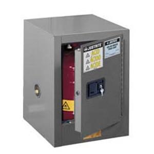 Justrite® Flammable Countertop Cabinet, 4 gal Gray self-closing