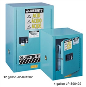 Justrite® Acid Safety Cabinet, Compact Style, 12 gallon Blue self-closing