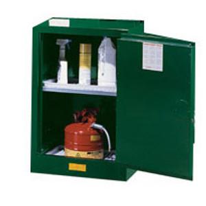 Justrite® Pesticide Compac Cabinet, 12 gallon green self-closing
