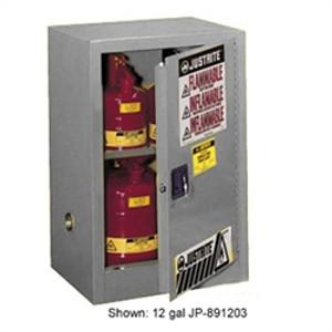 Justrite® Flammable Compac Cabinet, 15 gallon Gray self-closing