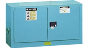 Justrite® Acid Safety Cabinet, Piggyback, 17 gallon Blue self-closing