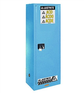 Justrite® Acid Safety Cabinet, Slimline 22 gal, ChemCor Lined, Blue, Self-Closing