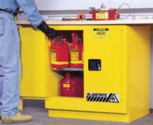 Justrite® Undercounter Flammable Cabinet, 22 gallon self-closing