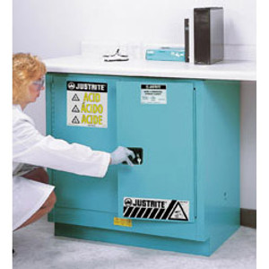 Justrite® Under-Counter Acid Cabinet, 22 gal Blue self-closing