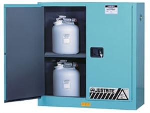 Justrite® Acid Cabinet, 30 gal, ChemCor Liner Blue self-closing