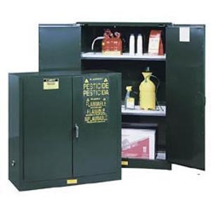 Justrite® Pesticide Storage Cabinet, 30 gal green self-closing