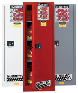 Justrite® Flammable Cabinet, 54 gallon Deep Slimline Red, manual