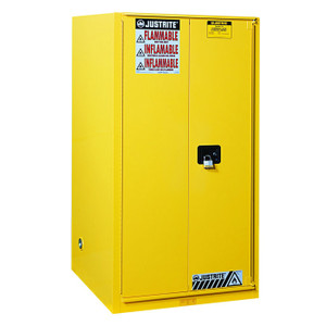 Justrite® Combustible Safety Cabinet, 96 gallon Yellow, Manual Close