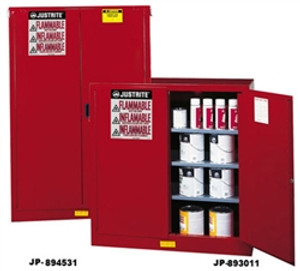 Justrite® Combustible Safety Cabinet, 120 gallon Red, manual
