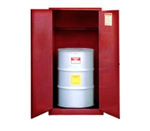 Justrite® Flammable Drum Cabinet, 55 gal Red, Self-Closing