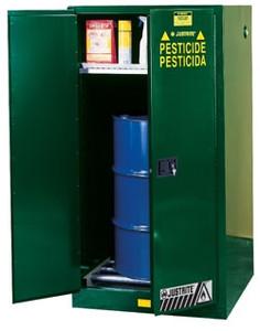 Justrite® Pesticide Drum Cabinet, 55 gal, Rollers green, manual