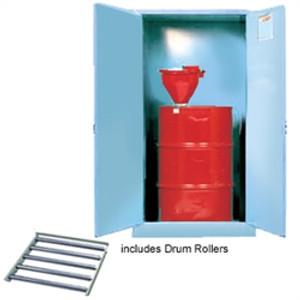 Justrite® Acid Drum Cabinet, 55 gal, Rollers Blue, Self-Closing