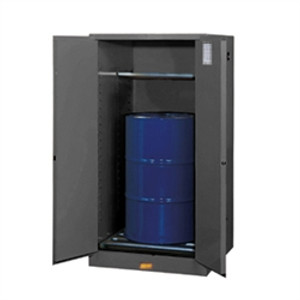 Justrite® Flammable Drum Cabinet, 55 gal, Rollers Gray, Self-Closing