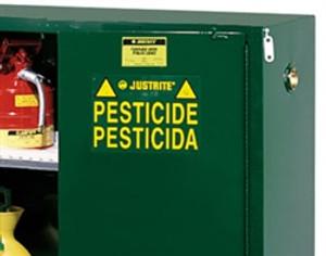 Justrite® Pesticide Storage Cabinet, 90 gal green, Self-Closing