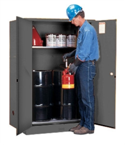 Justrite® Flammable Cabinet with rollers for (2) 30 gal drums, Gray self-closing