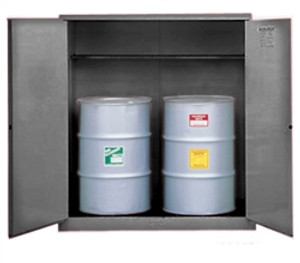 Justrite® Flammable 2-Drum Cabinet with support, 2-Drum, Gray, manual