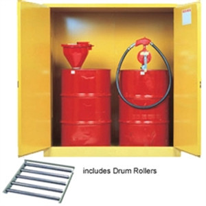 Justrite® Flammable Drum Cabinet with rollers, 2-Drum, Self-Closing