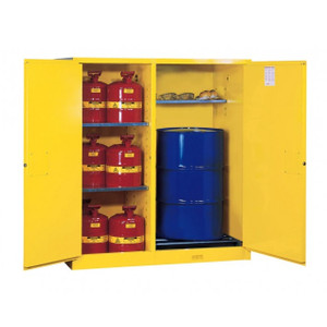 Justrite® Flammable Cabinet for drums, Safety Cans, Self-Closing