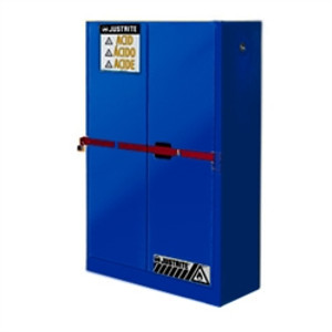 Justrite® Acid High Security Safety Cabinet, 45 gal Blue, Self-Closing