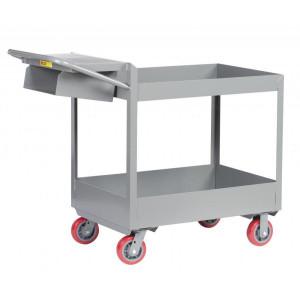 """Rolling Utility Cart, Heavy Duty, 3"""" Tray Shelves, 24 x 36"""