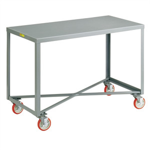 Mobile Work Bench, Single Shelf Table, Steel, 24 x 60""