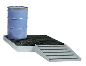 Spill Control Platform, Low Platform, 4-Drum, 66 gal sump