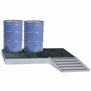 Spill Control Platform, Steel, Low Platform, 6-Drum, 99 gal sump