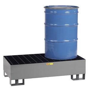 Spill Control Platform, Steel, Forklift ready, 2-Drum, 66 gal sump
