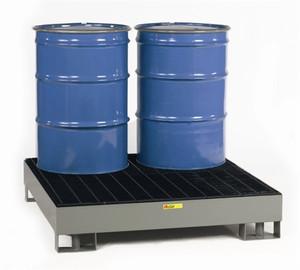 Spill Control Platform, Steel, Forklift ready, 4-Drum, 66 gal sump