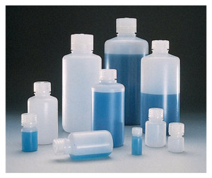 Nalgene® 2002-0016 Boston Round Bottles, 16 oz HDPE with PP Screw Caps, 28-415, case/48