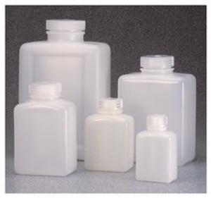 Nalgene® 2007-0064 Rectangular Bottles, 64 oz (2000mL) HDPE, case/12