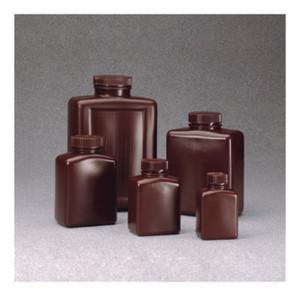 Nalgene® 2009-0004 Amber Bottles, 4 oz Rectangular HDPE, case/72