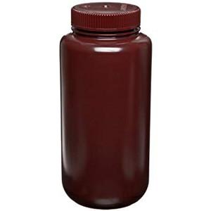 Nalgene® 2106-0032 Amber Bottles, Wide Mouth, HDPE, 32 oz (1L), case/24