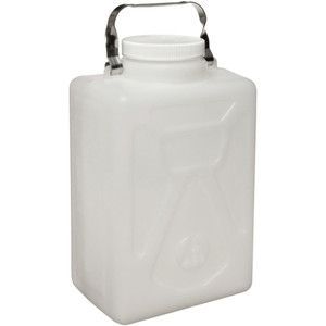 Nalgene® Rectangular Carboys, 9 Liter HDPE, Steel handle, case/6