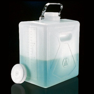 Nalgene® Rectangular Carboys, 20 Liter HDPE, Stainless Steel handle, case/4