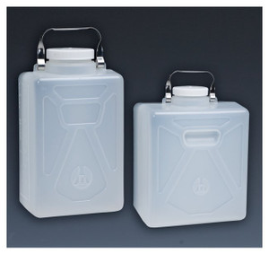 Nalgene® Polypropylene Carboys, Rectangular with SS Handle, 20 Liter, case/4