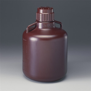 Nalgene® 2256-7020 Amber Carboy with Amber PP closure, 10 Liter HDPE, case/6