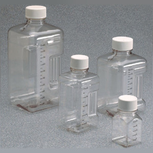 Nalgene® PETG Square Biotainer Bottles, Sterile, 500mL Lab Pack (Packed in bags of 5), case/70