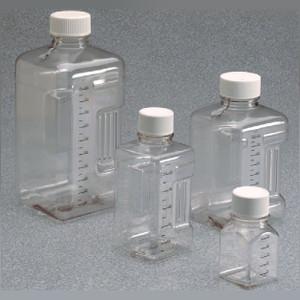 Nalgene® PETG Square Biotainer Bottles, Sterile, 500mL, bulk-packaged, case/70