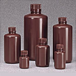 Nalgene® Bulk Amber Boston Round Bottles, 16 oz (500mL) Heavy Duty HDPE, case/125