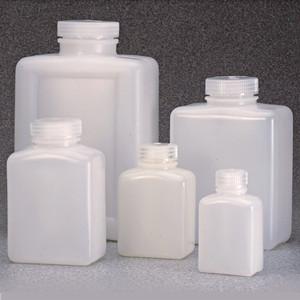 Nalgene® Rectangular Bottles, Bulk Pack, HDPE, 4 oz with Caps, case/500